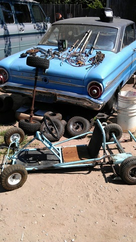"1963 Ford Falcon, My poor falcon,buried under my Go-Kart stuff,which,I""m currently selling., exterior"