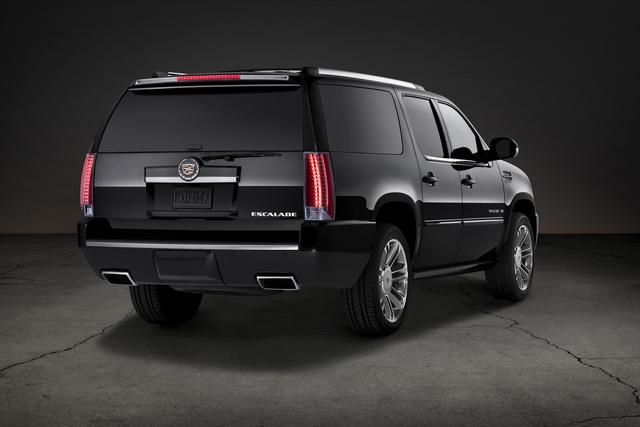 2013 Cadillac Escalade ESV, Rear-quarter view. Copyright General Motors, exterior, manufacturer