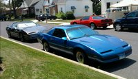 1985 Pontiac Trans Am, Gabe along with a 1987 Pontiac Firebird (Blue) and a 1988 Pontiac Firebird (Red), exterior