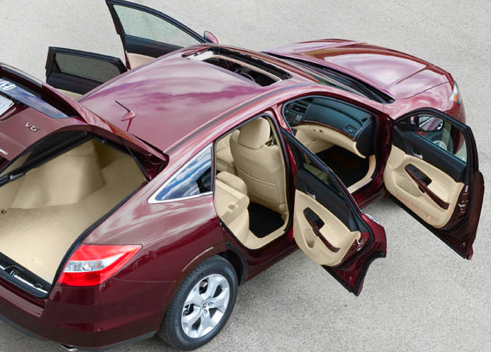 2012 Honda Crosstour, Back quarter view with open doors., exterior, manufacturer