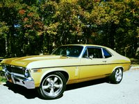 1969 Chevrolet Nova, 69 nova in rarely seen olympic gold! 307v-8 powerglide,deluxe strato buckets and console,fact 8-track stereo 4 spkr system,new additions include 17x7,18x8 coys c-5 wheels and cowl...