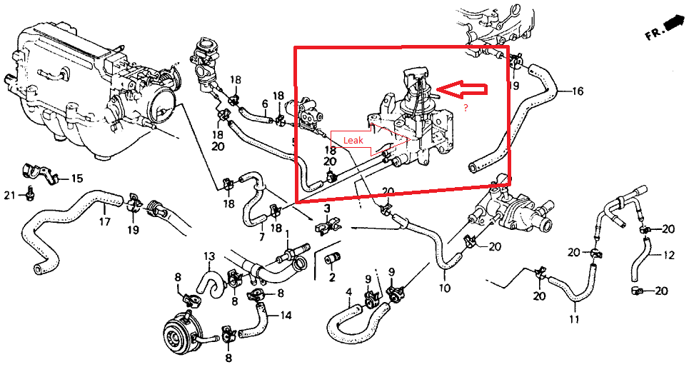honda accord questions why would coolant start leaking out of rh cargurus com 1995 honda civic intake manifold diagram 1996 honda civic intake manifold diagram