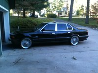 1990 BMW 7 Series 750iL RWD, black on  black sitting on 18in  chrome, exterior, gallery_worthy