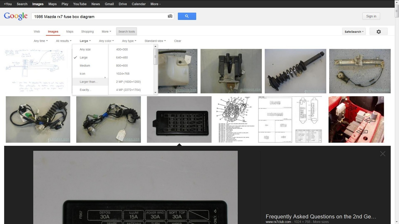 how to get bigger pics on Google image, search tools, size, click
