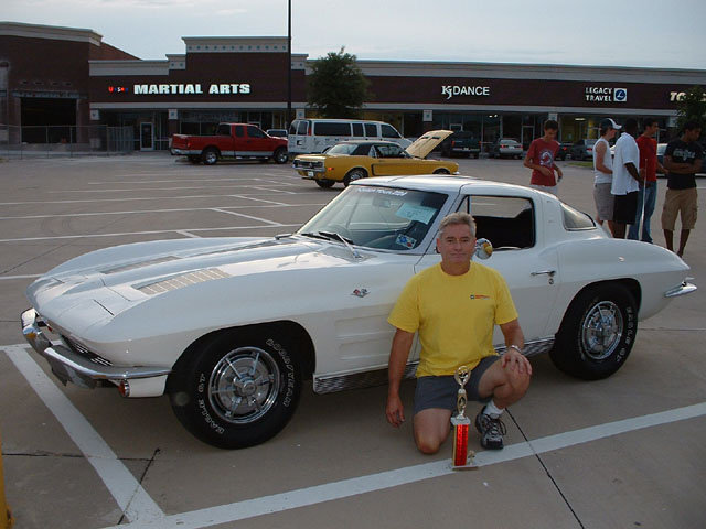 1963 Chevrolet Corvette Coupe, Pic of me and the first win for the White car at the Monthly Muscle car show in Dallas, exterior