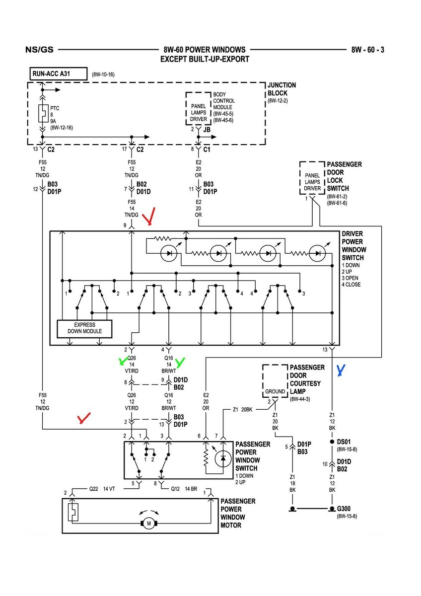 Dodge Grand Caravan Questions I Have 2009 Carvan And My Battery Charger Wiring Diagram Middle Passenger Window Wont Close From Front Or Backplease Help Me What Can Do To Fix It