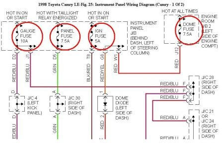 1998 ford mustang v6 fuse box diagram toyota camry questions my temp indicator on the 1998 toyota camry v6 fuse box