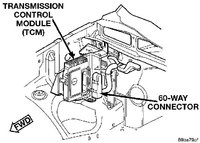 2002 pt cruiser transmission control module location