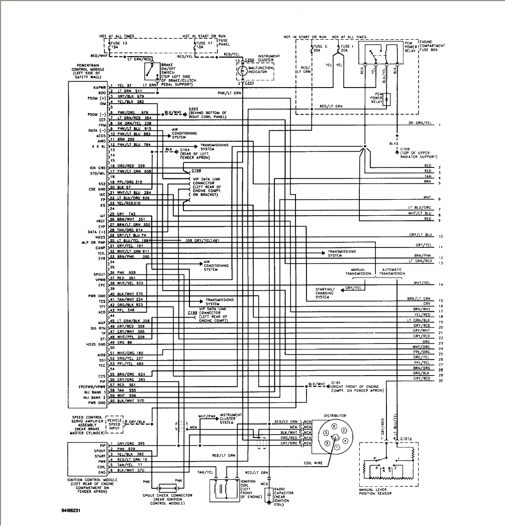 Here is a wiring diagram, shows colors of wires. click to enlarge