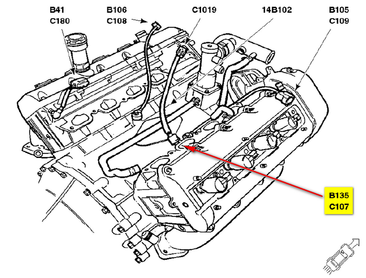 Position Of Parts In Engine  partment likewise 84o3t Chevrolet Silverado 2500 Hd 02 Chevy 2500 Hd 6 0l Always as well 2003 Toyota Camry O2 Sensor Location in addition Dodge Durango Coolant Sensor Location furthermore Ford Camshaft Position Sensor Problems. on 2000 f150 4 2 coolant temp sensor