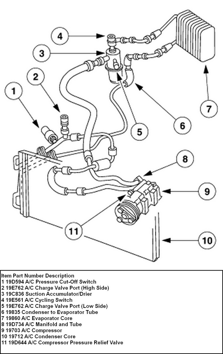 ford air conditioning parts diagram