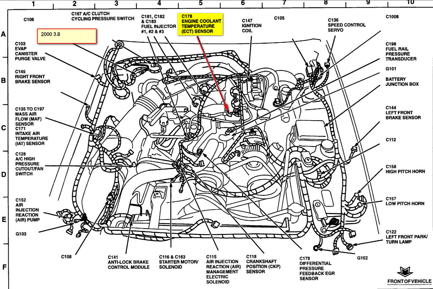 Pontiac G6 2006 Fuse Box Diagram furthermore Nissan Altima Fuel Tank Pressure Sensor Location furthermore Wiring Diagram For 2001 Chevy Silverado besides 2001 Ford Windstar  puter Location also Ford Contour Fuse Box Diagram. on ford mustang cooling fan relay