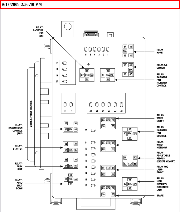 2011 chrysler 200 convertible fuse box diagram