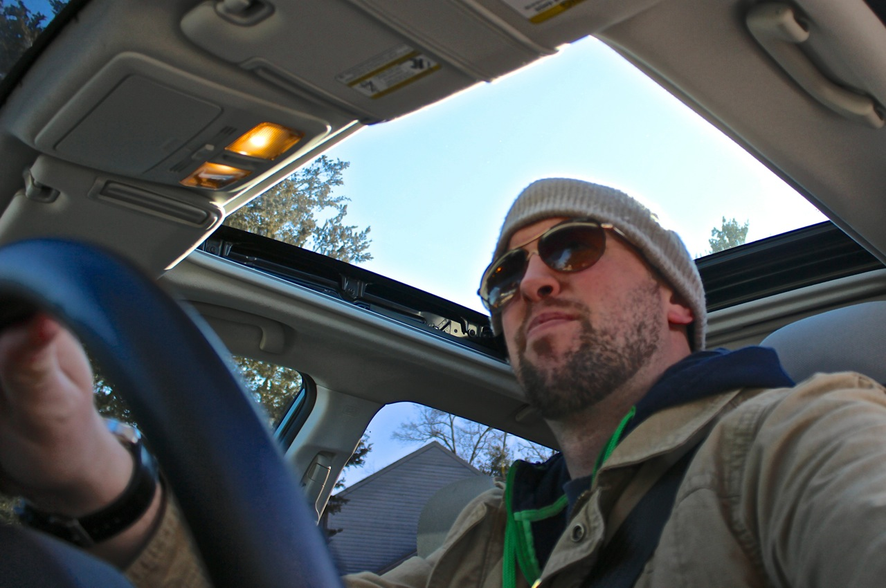 George Kennedy pilots the 2014 Subaru Forester, interior