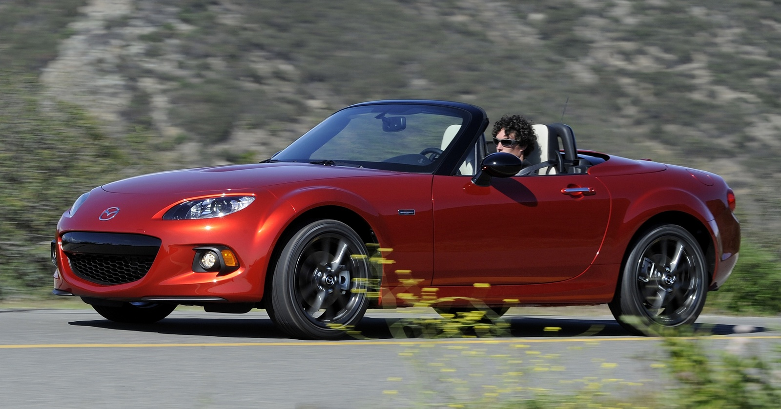 Front-quarter view of one of the 25th Anniversary Edition MX-5 Miatas