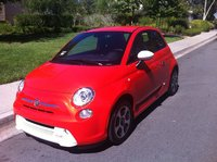 "2014 Fiat 500e Base, ""If you are going to drive an EV, why not do it with style?"" Apologies to Dr. E. Brown, exterior"