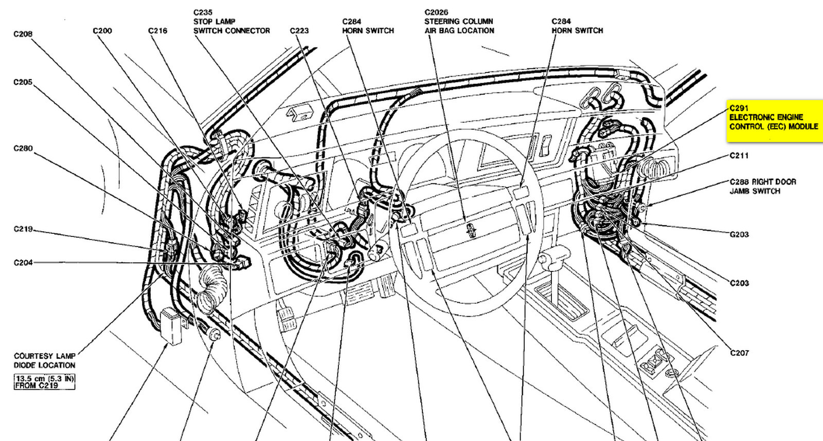 84 Mustang Fuse Box Location Wiring Schematics Diagram 1969 Corvette Lincoln Mark Vii Questions Where Is The Ecm For Engine Located