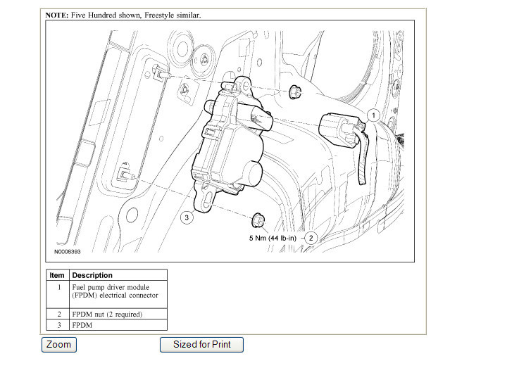 2005 ford freestyle fuel pump location