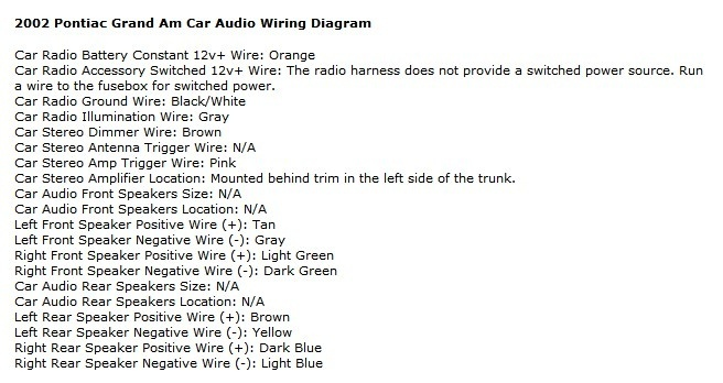 Pontiac Grand Am Questions - Can anyone help me with ... on jvc kd r330 miswiring, camera shutter mechanism diagram, jvc kd 320 manual, jvc kd-sr40, pioneer car stereo connector diagram, jvc kd s28 wiring-diagram, sony xplod head unit wiring diagram, radio wiring diagram, car audio wiring diagram, jvc kd-r650, jvc kd g230 instruction manual, jvc kd r530 wiring-diagram, jvc hdtv manual, jvc kd s79bt manual, jvc kd-a805, jvc harness diagram, kenwood speaker wiring diagram, jvc radio wiring check,