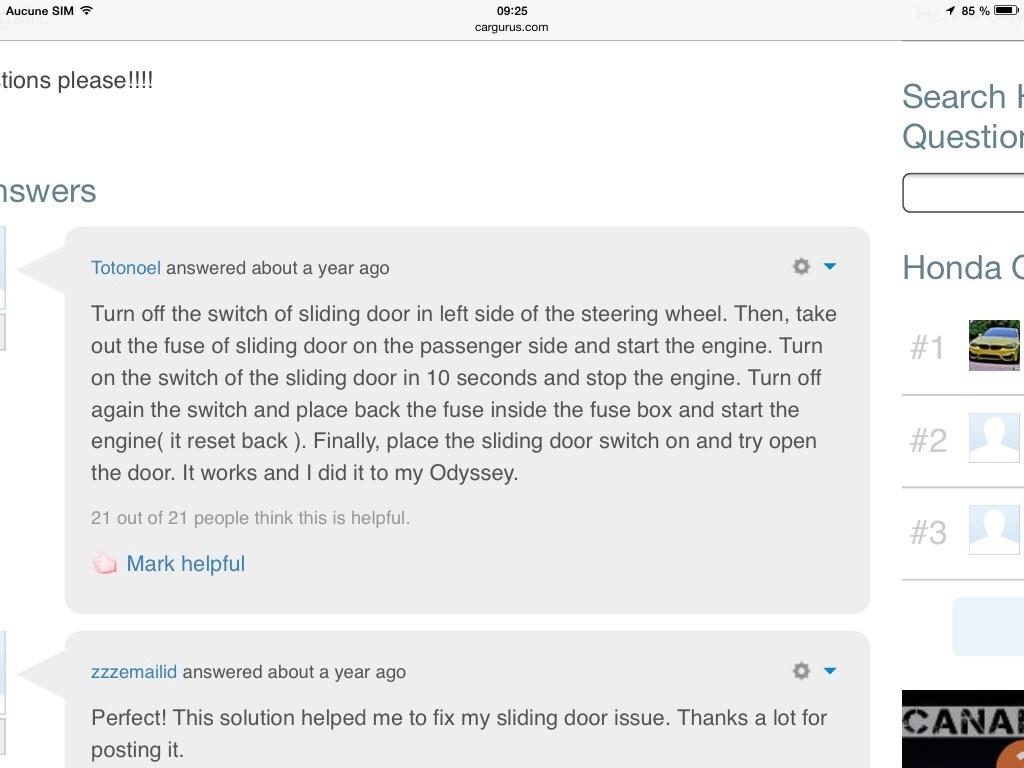 Honda Odyssey Questions How Do I Fix A Power Sliding