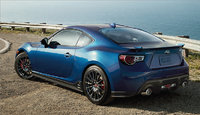 Rear-quarter view of the 2015 Subaru BRZ Series.Blue