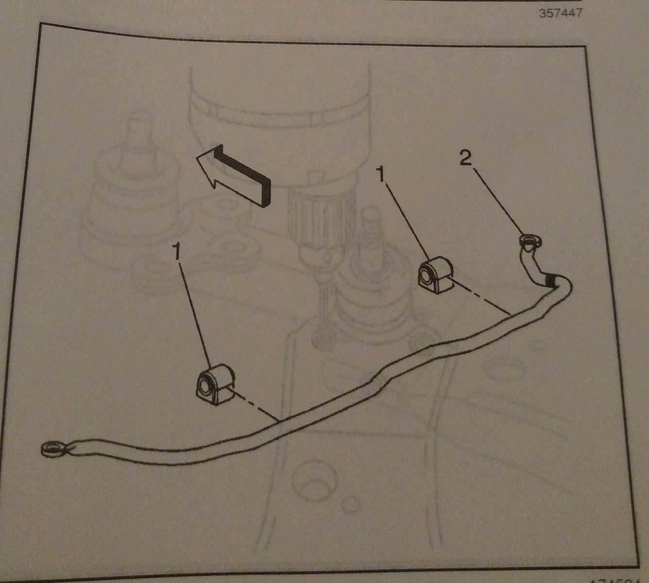 From my 2000 Grand Prix Factory Shop manual. This is what you're looking  for. Each end bolts to the lower control arms just behind the front wheels.  HTH.