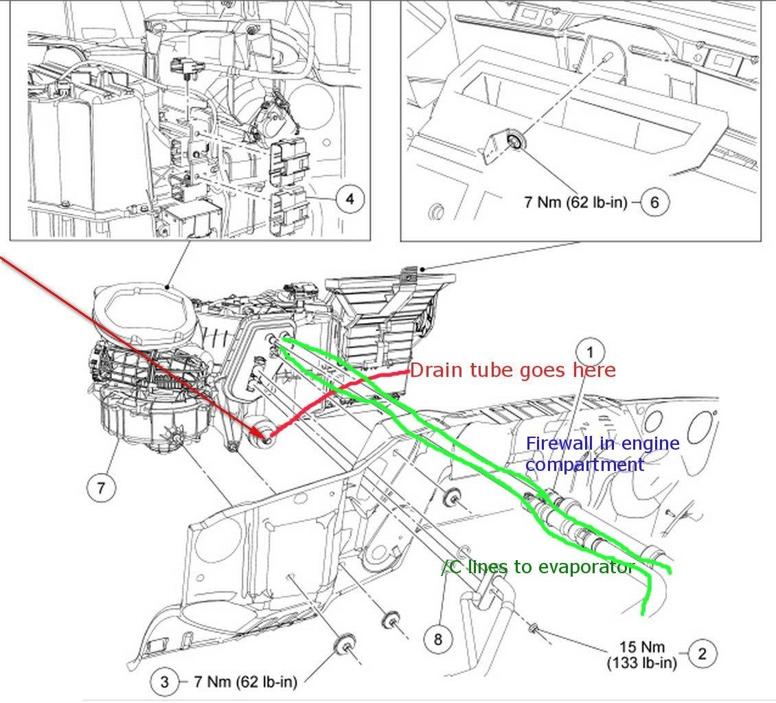 ford f-150 questions - where is the ac condensate drain tube located