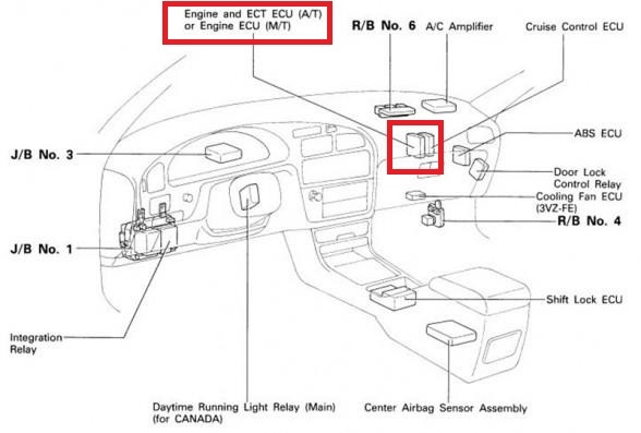 toyota camry questions - where is the ecu located in 97 toyota camry