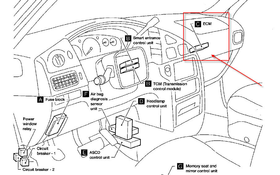 fuse box for 2004 nissan maxima with Nissan Sentra Gxe Ecm Location on T17673671 Show me altima 07 ac relay switch further Nissan 350z Starter Relay Location as well In A 2010 Nissan Xterra Thermostat Location together with 2011 Jetta Engine Diagram further Nissan Sentra Fuel Temperature Sensor Location.