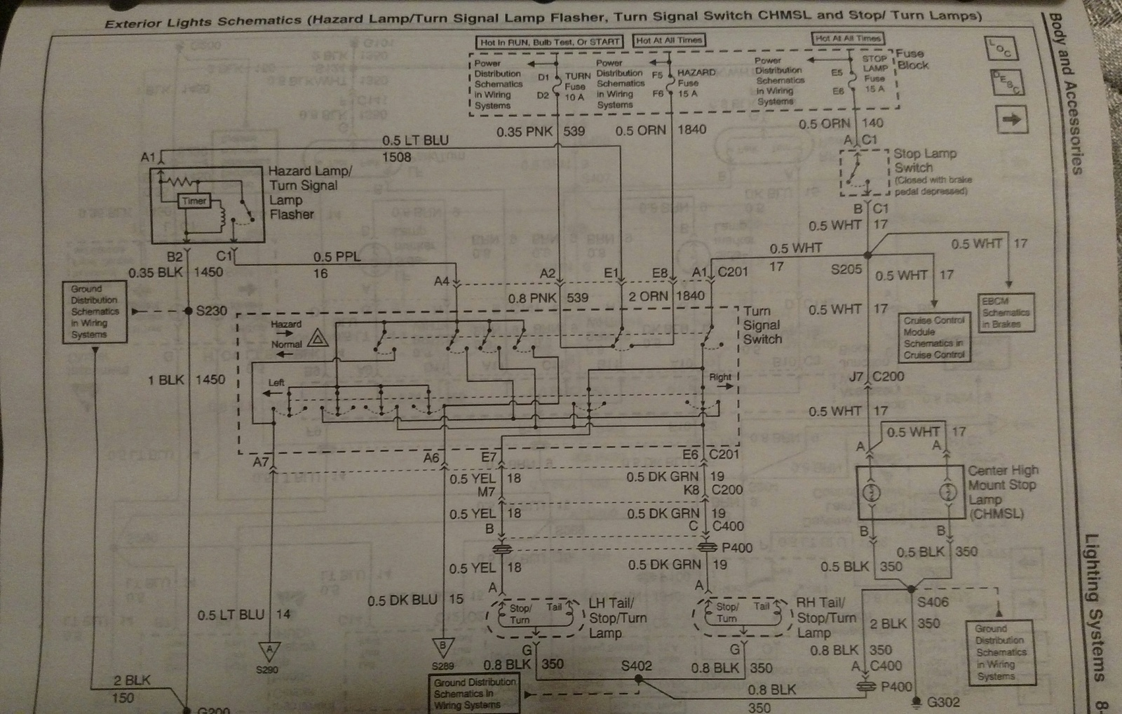 Here's the wiring diagram. You're looking at the yellow wire on the left  socket and the dark green wire on the right socket. HTH. - Jim