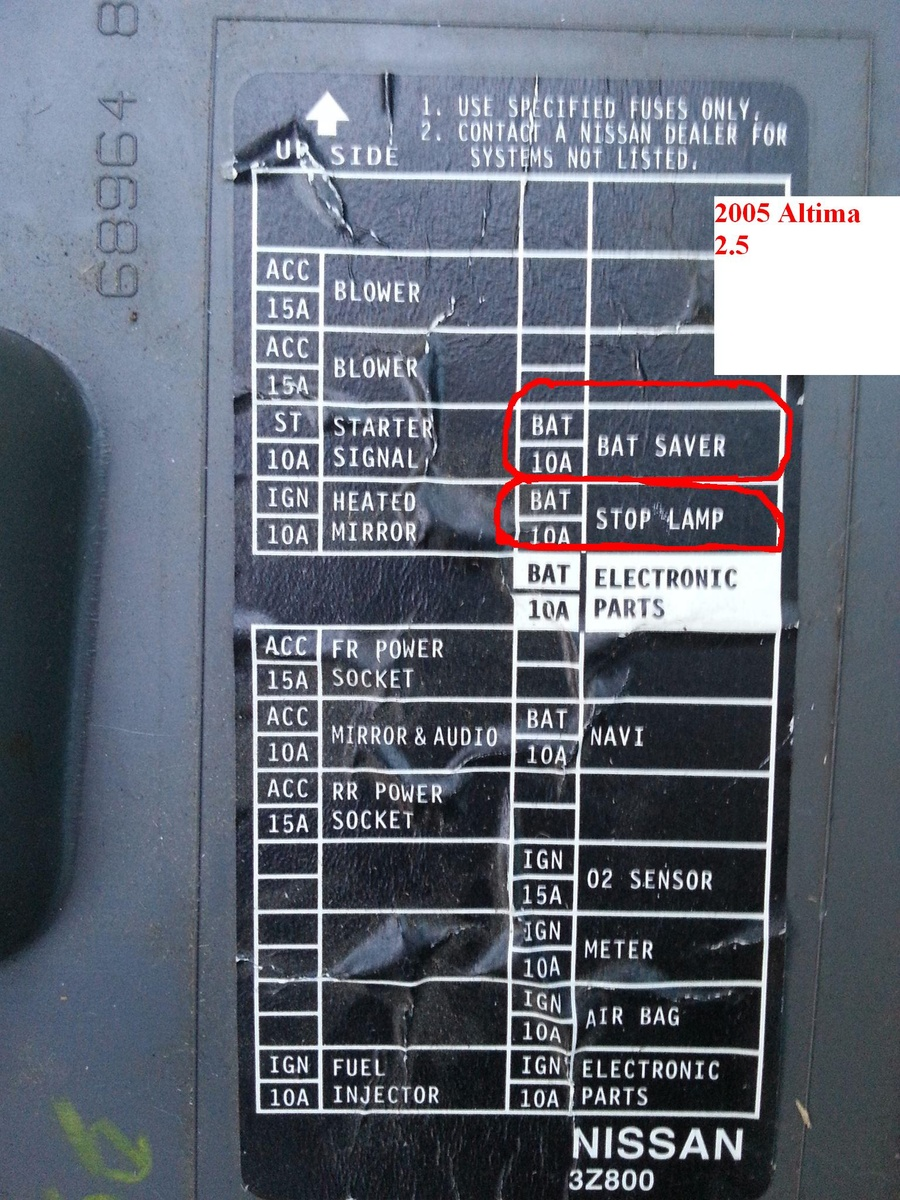 Nissan Altima Fuse Box 2002 - Wiring Diagram