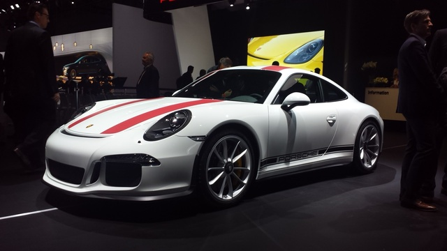 Photo taken at the New York International Auto Show. Porsche 911R front-quarter view.