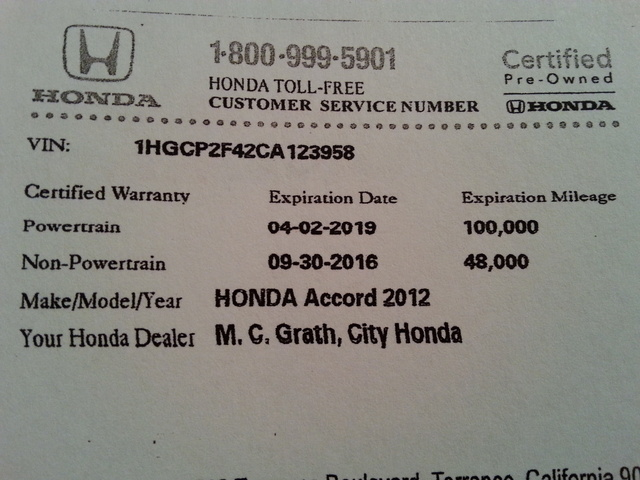 Picture of 2012 Honda Accord LX-P