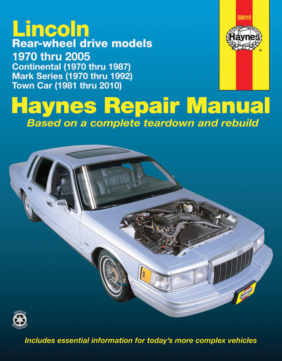 Hi there I have a 1997 Lincoln continental and I am trying to find the  right repair manual. I have bought a Haynes one but it says it is only good  from ...