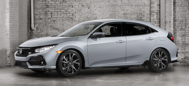 2017 Honda Civic Hatchback, Front-quarter view., exterior, manufacturer