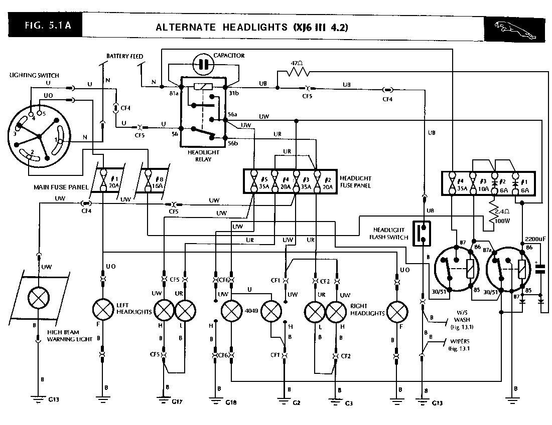 jaguar lights wiring diagram