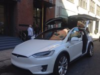 2016 Tesla Model X P100D, Model x with doors up, exterior
