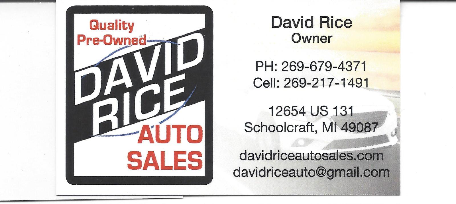 Rice Auto Sales >> David Rice Auto Sales Schoolcraft Mi Read Consumer Reviews