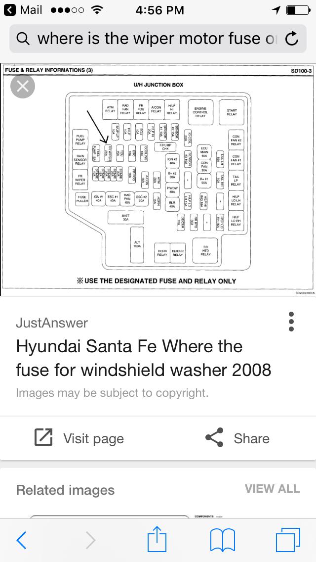Hyundai Santa Fe Questions - Windshield Washer Pump Fuse