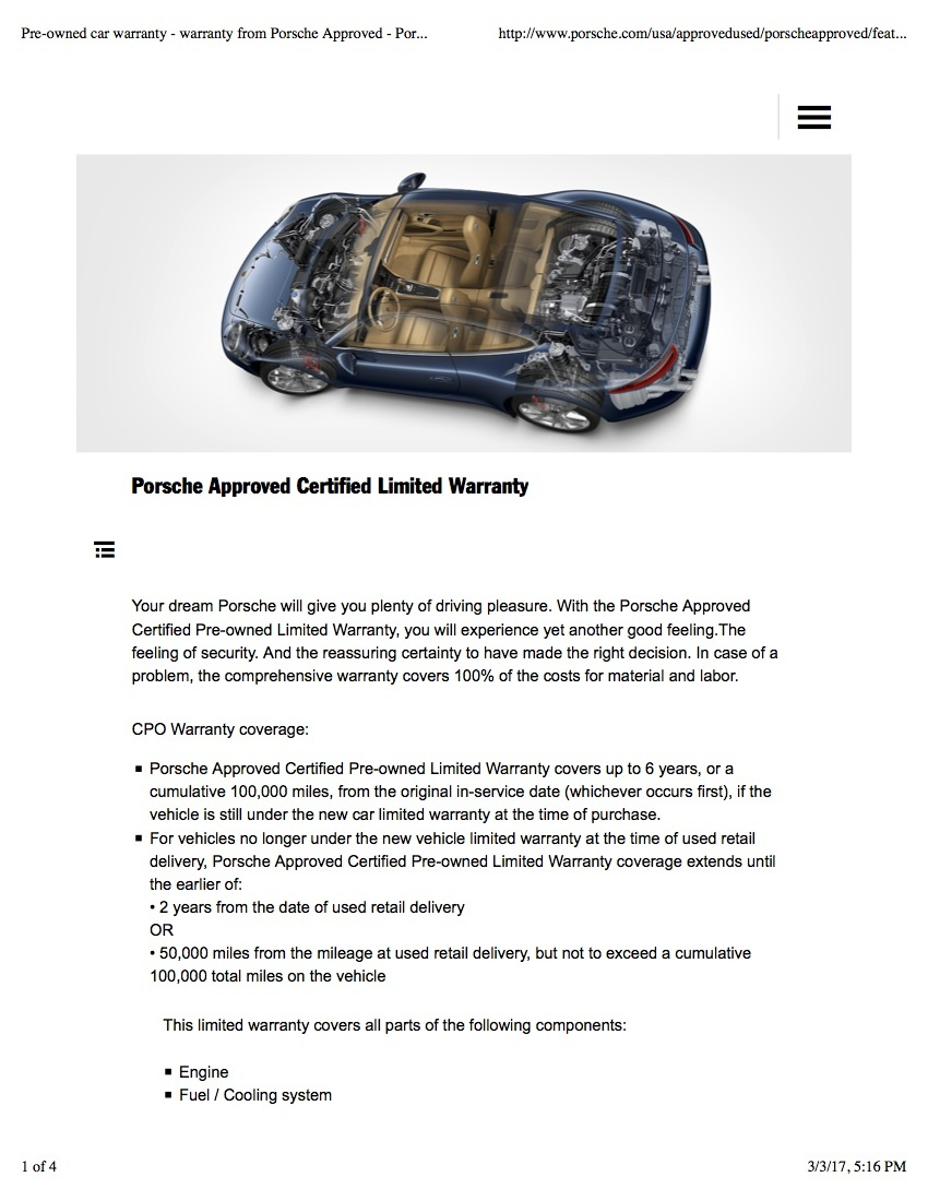 Porsche Cayenne Questions - Extended warranty on a Porsche 2009 ...