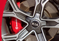 Wheel and brake detail of the 2018 Kia Stinger., exterior, gallery_worthy