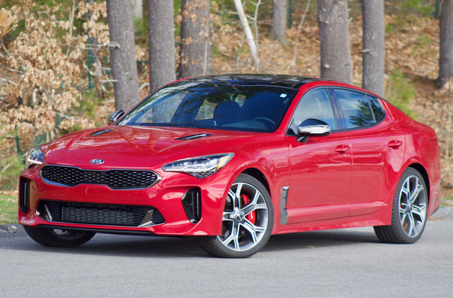 Front 3/4 of the 2018 Kia Stinger.