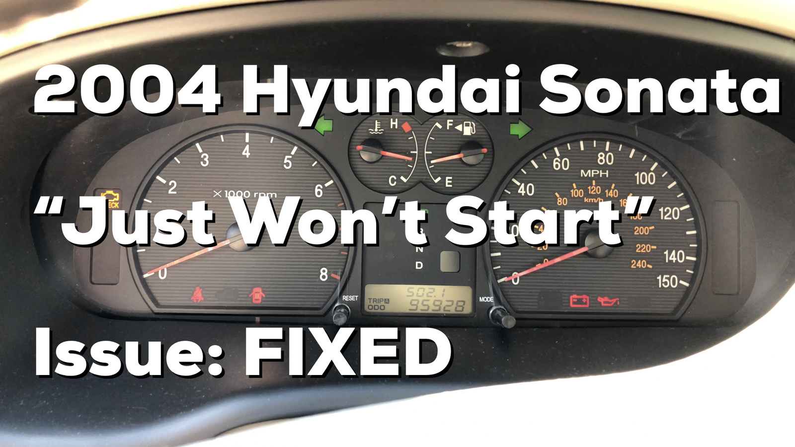 ... Hyundai Sonata intermittent start issue: https://youtu.be/muqrsTeXico  If the link to the video doesn't work, search for user nperspective on  YouTube and ...