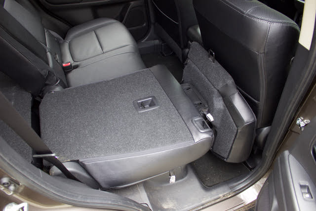 Second row of the 2018 Mitsubishi Outlander. Note the complicated seat-folding action., interior, gallery_worthy