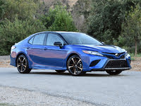 2019 Toyota Camry XSE V6 FWD, 2019 Toyota Camry XSE in Blue Streak Midnight Black Front Quarter View, exterior, gallery_worthy