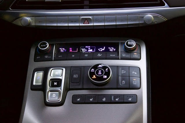 Center console controls of the 2020 Hyundai Palisade., interior, gallery_worthy