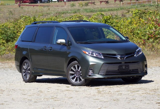 Front 3/4 profile of the 2020 Toyota Sienna.