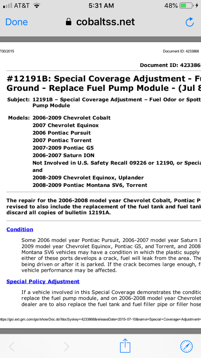 Chevrolet Cobalt 06 Cobalt No Crank No Fuel Pump Power Pin
