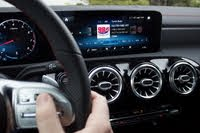 2020 Mercedes-Benz CLA-Class, MBUX display of the 2020 Mercedes-Benz CLA-250. Note the directional pad on the steering wheel., interior, gallery_worthy