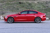 2020 Jaguar XE P300 R-Dynamic S Caldera Red Side View, exterior, gallery_worthy